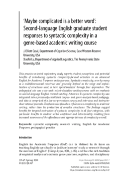 'Maybe complicated is a better word': Second-language English graduate student responses to syntactic complexity in a genre-based academic writing course