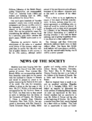 NEWS OF THE SOCIETY