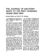 THE JOURNAL OF ANATOMY: INDEX TO THE FIRST HUNDRED YEARS 1866-1966