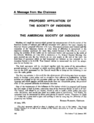 PROPOSED AFFILIATION OF THE SOCIETY OF INDEXERS AND THE AMERICAN SOCIETY OF INDEXERS