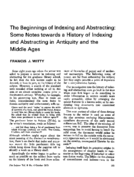 THE BEGINNINGS OF INDEXING AND ABSTRACTING: SOME NOTES TOWARDS A HISTORY OF INDEXING AND ABSTRACTING IN ANTIQUITY AND THE MIDDLE AGES