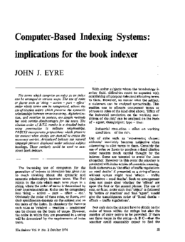 Computer-Based Indexing Systems: implications for the book indexer