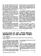 LANGUAGES OF ASIA, WITH SPECIAL REFERENCE TO THE ISLAMIC WORLD