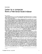 Letter to a computer from a free-lance book-indexer