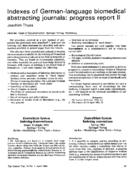 Indexes of German-language biomedical abstracting journals: progress report II