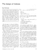 The design of indexes