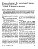 Observations on the indexing of history: the example of the Journal of American History