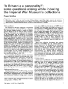 'Is Britannia a personality?': some questions arising while indexing the Imperial War Museum's collections