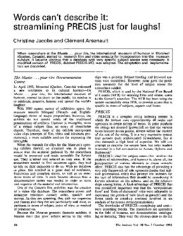 Words can't describe it: streamlining PRECIS just for laughs!