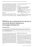 ISAPOnline as an enhancement of a service to community libraries making use of technological development