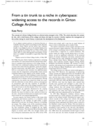 From a tin trunk to a niche in cyberspace: widening access to the records in Girton College Archive