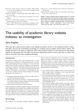 The usability of academic library website indexes: an investigation