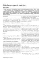 Alphabetico-specific indexing