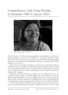 In remembrance: Gale Pinney Rhoades (6 December 1948-31 January 2021)