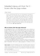 Embedded indexing with Word. Part 5 - locators other than page numbers