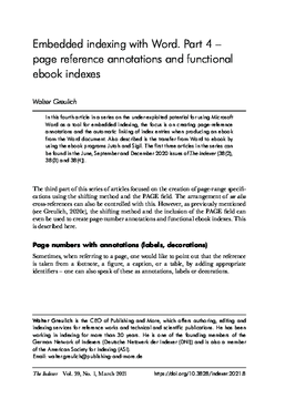 Embedded indexing with Word. Part 4 - page reference annotations and functional ebook indexes