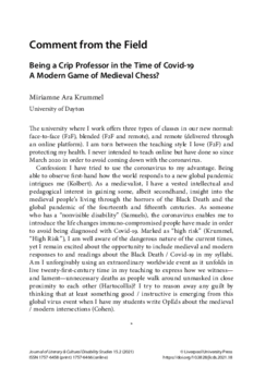 Being a Crip Professor in the Time of Covid-19 A Modern Game of Medieval Chess?