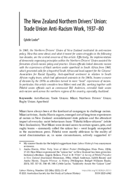 The New Zealand Northern Drivers' Union: Trade Union Anti-Racism Work, 1937-80