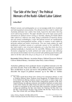 """""""Our Side of the Story"""": The Political Memoirs of the Rudd-Gillard Labor Cabinet"""