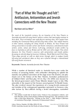 """""""Part of What We Thought and Felt"""": Antifascism, Antisemitism and Jewish Connections with the New Theatre"""