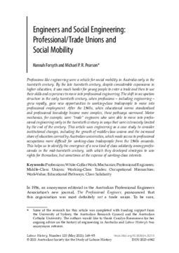 Engineers and Social Engineering: Professional/Trade Unions and Social Mobility