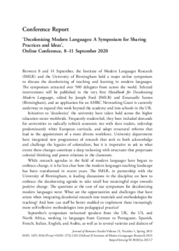 'Decolonising Modern Languages: A Symposium for Sharing Practices and Ideas', Online Conference, 8-11 September 2020
