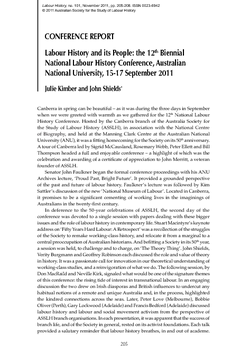 Labour History and its People: the 12thBiennial National Labour History Conference, Australian National University, 15-17 September 2011