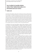 State Socialism for Australian Mothers: Andrew Fisher's Radical Maternalism in its International and Local Contexts