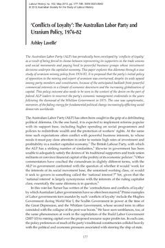 'Conflicts of Loyalty': The Australian Labor Party and Uranium Policy, 1976-82