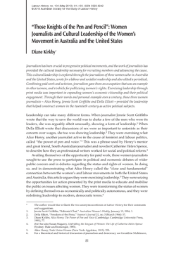 """""""Those Knights of the Pen and Pencil"""": Women Journalists and Cultural Leadership of the Women's Movement in Australia and the United States"""