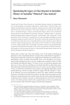 """Questioning the Legacy ofClass Structure in Australian History: An Australian """"Historical"""" Class Analysis?"""
