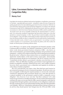 Labor, Government Business Enterprises and Competition Policy