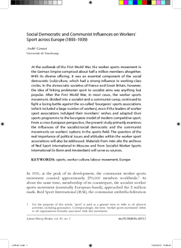 Social Democratic and Communist Influences on Workers' Sport across Europe (1893–1939)