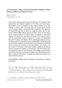E.P. Thompson, Shirley, and the Antinomian Tradition in West Riding Luddism and Popular Protest
