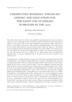 Unemployed Workers, 'Enforced Leisure' and Education for 'The Right Use of Leisure' in Britain in the 1930s