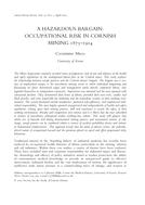 A Hazardous Bargain: Occupational Risk in Cornish Mining 1875–1914