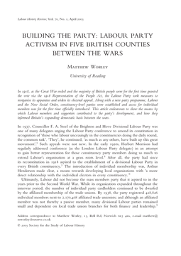 Building the Party: Labour Party Activism in Five British Counties Between the Wars