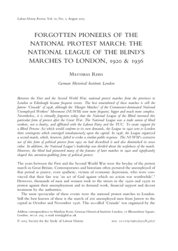 Forgotten Pioneers of the National Protest March: The National League of the Blind's Marches to London, 1920 & 1936