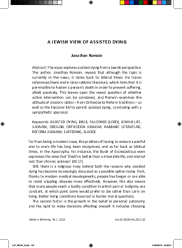 A Jewish View of Assisted Dying
