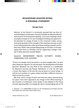 Reassessing Assisted Dying: A Personal Statement