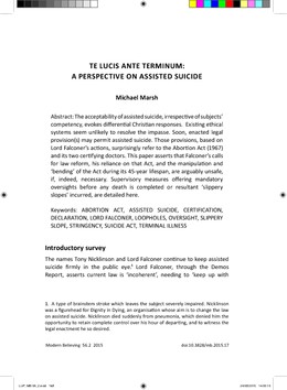Te Lucis Ante Terminum: A Perspective on Assisted Suicide