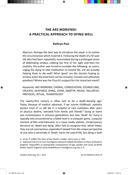 The Ars Moriendi: A Practical Approach to Dying Well