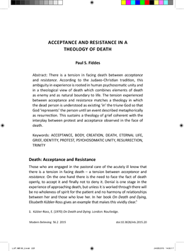 Acceptance and Resistance in a Theology of Death