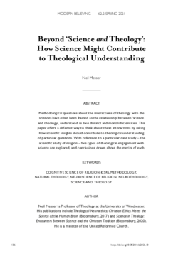 Beyond 'Science and Theology': How Science Might Contribute to Theological Understanding