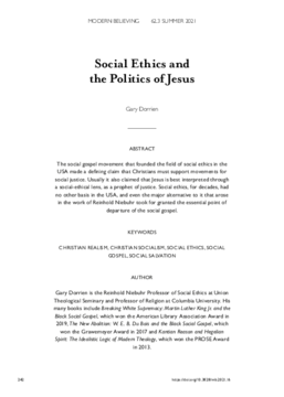 Social Ethics and the Politics of Jesus