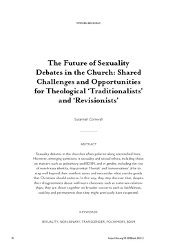 The Future of Sexuality Debates in the Church: Shared Challenges and Opportunities for Theological 'Traditionalists' and 'Revisionists'