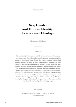 Sex, Gender and Human Identity: Science and Theology