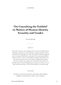 'On Consulting the Faithful' in Matters of Human Identity, Sexuality and Gender