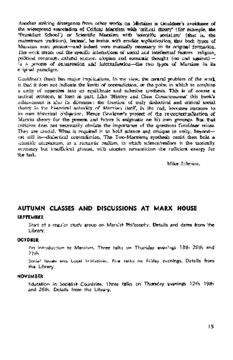 AUTUMN CLASSES AND DISCUSSIONS AT MARX HOUSE