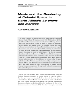 Music and the Gendering of Colonial Space in Karin Albou's Le chant des mariées